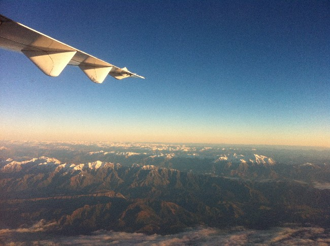 Flying south, Air New Zealand, Southern Alps, New Zealand